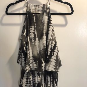 Tie Dyed Black and White Shorts Romper with Straps